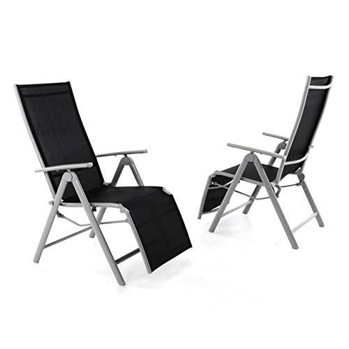 Nexos 2er Set Alu Liegestuhl Klappstuhl mit Fußstütze Hochlehner Sonnenliege Terrasse