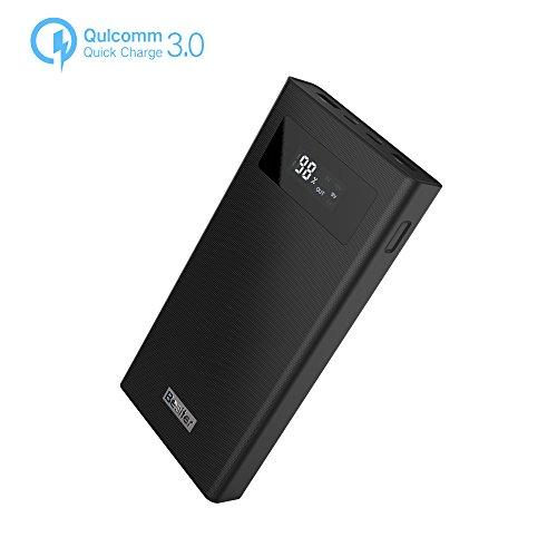 20000mAh Portable Charger,Quick Charge 3.0 Dual Input Output Typec-C Port with LCD Display High Capacity Power Bank,External Battery Pack for iPhone, Samsug,Android and More (Black)