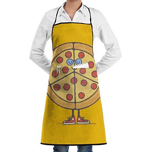 Harla Pizza & Peace Love Lustiger Chefkoch Geburtstag Unisex Chefkoch Küchenschürze Durable Fashion Schürzen Lätzchen mit Tasche für Restaurant Cafe Home Barbecue Grill Backen Gartenarbeit Bastel
