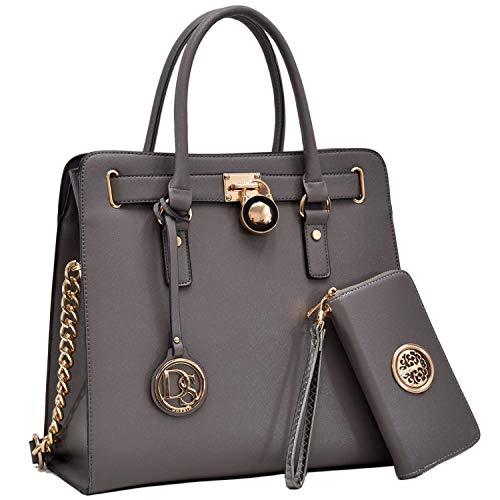 Womens Fashion Handbag Designer Top Belted Padlock Satchel Bag Structured Top Handle Shoulder Bag (2553w-dark grey-1)