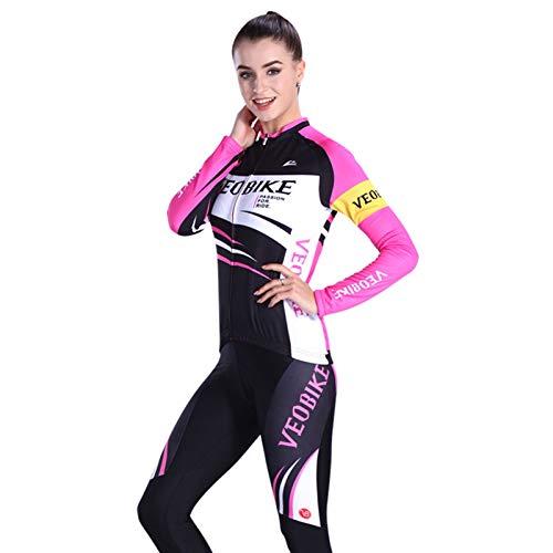 Epinki Damen Fahrradshirts Sommer Fahrradtrikot Rose Schwarz Radfahren Jersey Atmungsaktiv Schnell Trocken Sports Fahrradbekleidung Radtrikot Set Größe XXL
