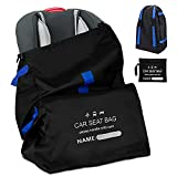 Carseat Travel Bag for Airplane, Durable Infant Car Seat Travel Bag with Padded Shoulder Strap, Gate Check Bag for Car Seats, Baby Carseat Cover Travel Bag for Air Travel, Foldable Backpack with Pouch