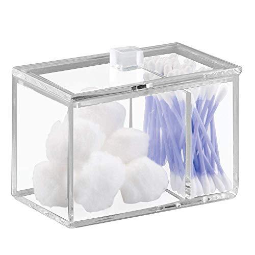 iDesign Caja de almacenaje con tapa, resistente dispensador de algodón y bastoncillos en plástico, bote algodonero para baño con dos compartimentos, transparente