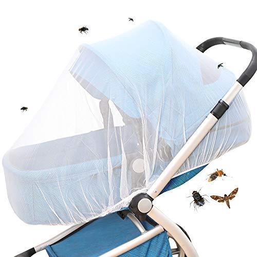 Mosquitera blanca para cochecito y cochecito, con banda de goma, tela blanca fina de 1 mm de diámetro, protección ideal contra insectos como avispas, moscas y mosquitos.