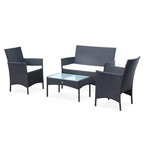 Salon de Jardin en résine tressée - Moltès - Noir. Coussins Ecru - 4 Places - 1 canapé. 2 fauteuils. Une Table Basse
