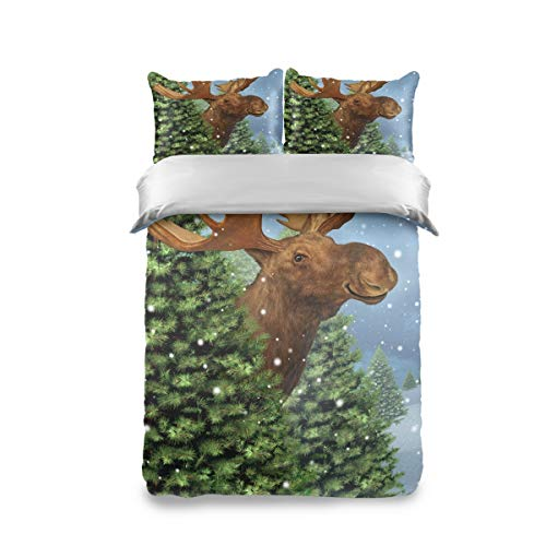 HappyCAT Bedding Set 3 Piece Reindeer Christmas Tree Kids Duvet Cover Set Twin(1 Duvet Cover + 2 Pillow Shams) Comforter Cover for Boys Girls 66x90in 5020505