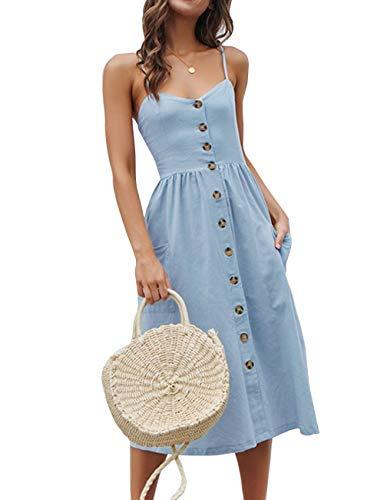 Yieune Sommerkleider Damen V Ausschnitt Casual Cocktailkleid Ärmellos Blumenmuster Strandkleid Party Abendkleid (Blau S)