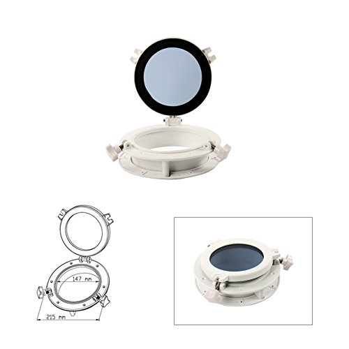 """Amarine Made Boat Yacht Round Opening Portlight Porthole 8"""" Replacement Window Port Hole - ABS Tempered Glass, Color: Black, White (White)"""