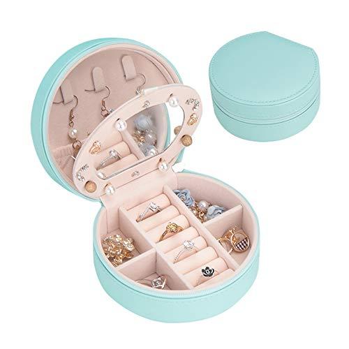 Botanka Cowry Small Jewelry Box Organizer Mirrored Jewelry Box for Earrings and Rings (Green)