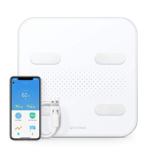 YUNMAI S Báscula 10 Cargador USB de Datos Corporales Compatible con Pantalla LED Oculta Bluetooth iOS y Android Apple Health Google Fit con Aplicación Gratuita, para regalo.