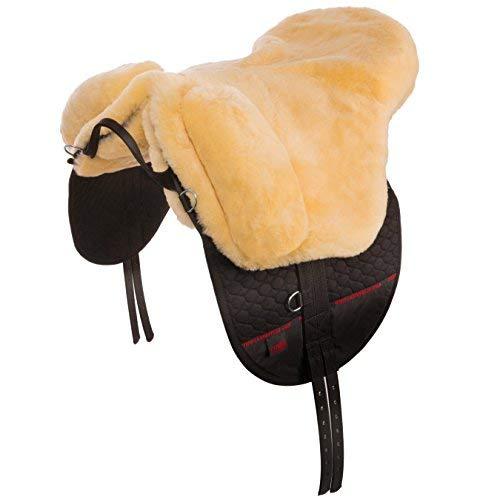 CHRIST Cómoda Montura Inglesa de Caballo Premium Plus - Silla de Montar de Piel de Cordero Transpirable y Suave (Bareback-Pad) Talla Pura Sangre; Color Natural