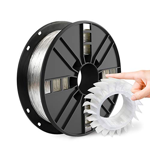 NOVAMAKER TPU Filament 1.75mm, Clear Flexible TPU 3D Printer Filament with 20g Cleaning Filament, 2.0lbs Spool, Dimensional Accuracy +/- 0.05mm, 95A Soft TPU Transparent