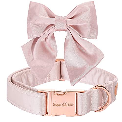 Unique style paws Seiden Pink Farbe Hundehalsband Verstellbares strapazierfähiges Hundehalsband mit Schleife Hochzeit Fliege Hundehalsband für kleine Welpen und Katzen