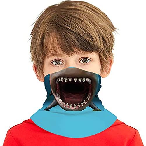 asdew987 Dientes de tiburón divertidos cubrebocas para niñas y niños lavables Bandanas cuello polaina cabeza bufanda regalos para niños