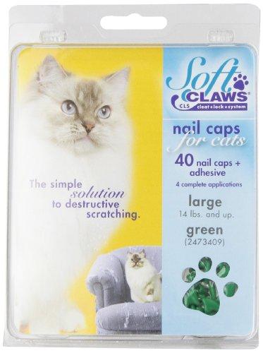 Soft Claws Inc Feline Doux Griffes Cat Nail Caps Take-Home kit, Grande, Vert,