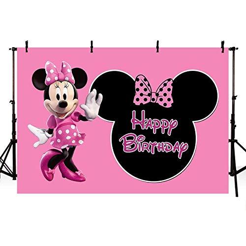 Parete sullo sfondo Galleria fotografica su ordinazione della doccia di bambino della ragazza di compleanno del neonato di Minnie dell'arco rosa Ragazza di compleanno del contesto della cabi