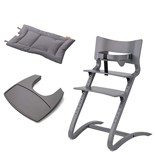 Leander Stuhl grau lackiert - Hochstuhl - Kinderstuhl - Erwachsenenstuhl mit Babybügel + Tablett grau + Kissen cool grey