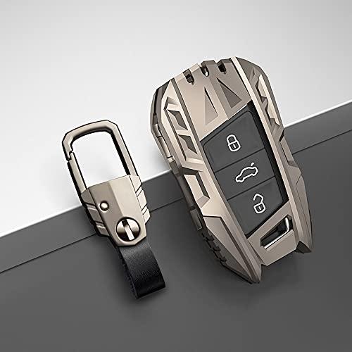 WSWJDW Carcasa de protección de Metal para Llave de Coche, Apta para VW Volkswagen Polo Bora Tiguan Passat Golf 6 Lavida Scirocco, Accesorios para automóviles, B Gris