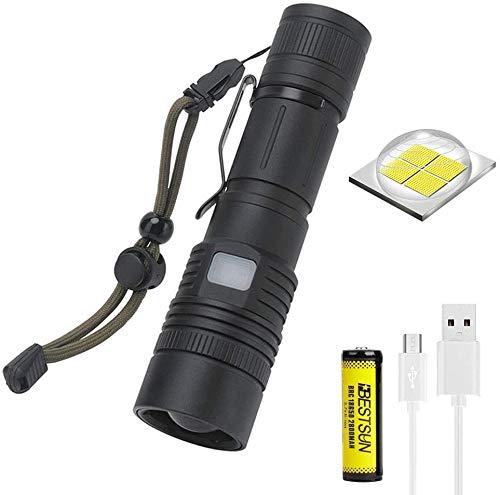 Linterna táctica LED XHP50 súper brillante, recargable por USB, de lúmenes altos,...