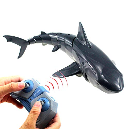 Tipmant Large Size RC Shark Radio Remote Control Fish Boat Electric Water Toys for Swimming Pool, Lake Kids Birthday Gifts (Grey)