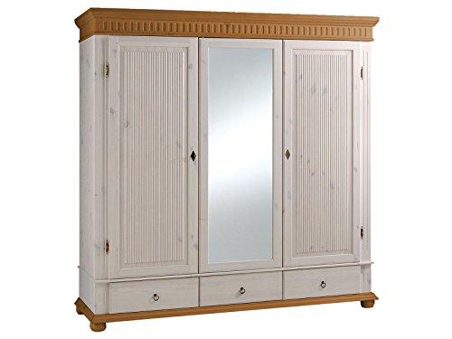 möbelando Kleiderschrank Schrank Schlafzimmerschrank Massivholzschrank Silvana III 199 cm weiß/antik