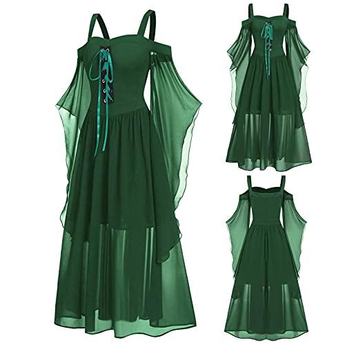 Aobliss Womne Vestido medieval fro con mangas de mariposa con cordones para Halloween vestido gtico, 5-Verde, XXXL