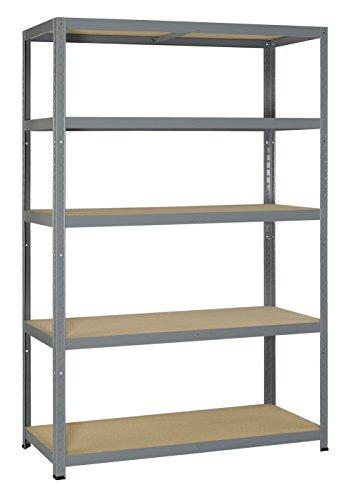 Avasco 175 Strong Regal aus Metall/Holz, Aufsteckmechanismus, mit 5 Ablageflächen, klar, galvanisiert, grau, 5400431608359