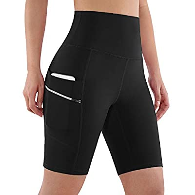"ODODOS Women's Dual Pockets High Waisted Workout 8"" Shorts, Yoga Athletic Cycling Hiking Sports Shorts, Plus Size, Black, XX-Large"