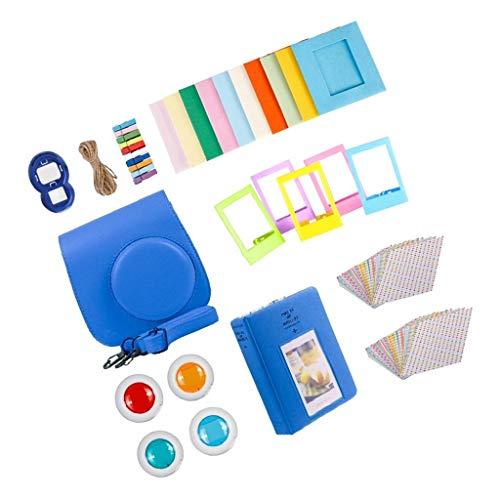 prasku para Instax 9 Camera Instant White Film Photo Paper Set de Regalo - Azul Cobalto