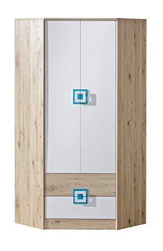 KRYSPOL Eckkleiderschrank NICO 02 Eckschrank mit 3 Einlegeböden, Kleiderstange und 2 Schubladen, Kinderzimmer (Eiche Hell/Weiß + Türkis)