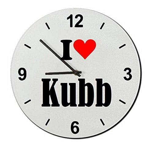 Druckerlebnis24 Exclusivo: Vidrio de Reloj I Love Kubb una Gran Idea para un Regalo para su Pareja, colegas y Muchos más! - Reloj, Regaluhr, Regalo, Amo, Made in Germany.