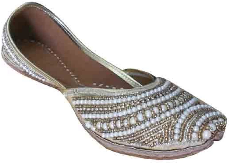 Kalra Creations Traditional Dabka Women shoes Indian Flip-Flops Leather Mojari Flat
