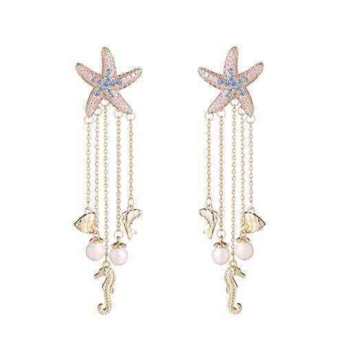 BAJIE Pendiente, Nuevo diseño de Estrella de mar, Pendientes de Borla con Cadena, Pendientes de Moda de Estilo oceánico para Mujer, joyería de Boda de circonita cúbica