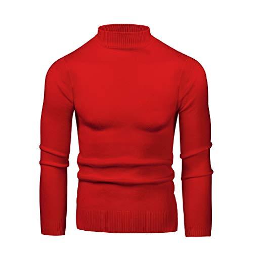waotier Jerséis Suéter de Punto Cuello Redondo para Hombre Cuello bajo Gran elástico Slim Fit Tejido Flexibilidad Color sólido Suéter de Manga Larga con Fondo Suéter