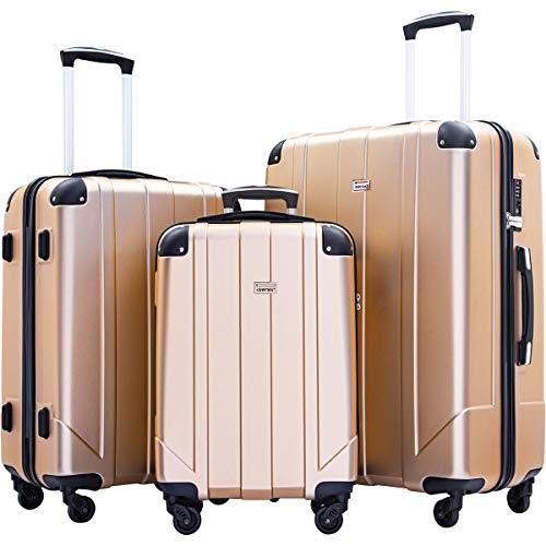 Merax 3 Pcs Luggage Set with Built-in TSA and Reinforced Corners, Eco-friendly P.E.T Light Weight Spinner Suitcase Set (Gold)