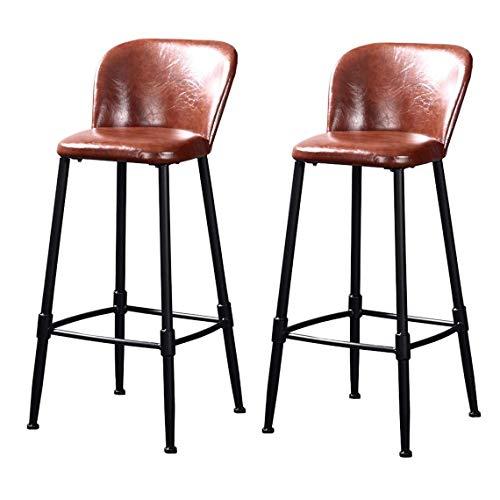 Barkruk Patio Dining Chair Set met 2 industriële barkrukken, café, keuken, eetstoel, stoelen, bar, grote kruk, onderste rug en gewatteerde zitting, grootte: 65 cm