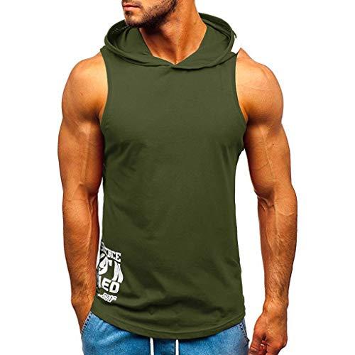 Dasongff tanktop met capuchon voor heren, mouwloos, slim fit, onderhemd, onderhemd, T-shirt, spiershirt, okselshirt, mouwloze training, gym, fitness, sport, vrije tijd, met capuchon