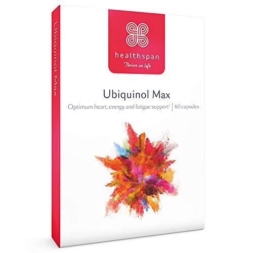 Ubiquinol Max | Healthspan | 60 Capsules | Tocotrienol Complex | Omega 3 Fish Oil | Vitamins B1 & C | 280mg coQ10