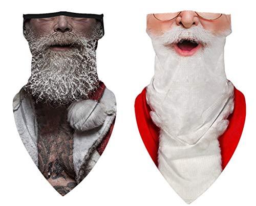 JooMeryer Face Mask Xmas Christmas Print Bandana Neck Gaiter Face Scarf Ear Loops Balaclava for Dust Mask Man Woman,2pcs Santa Claus White Beard
