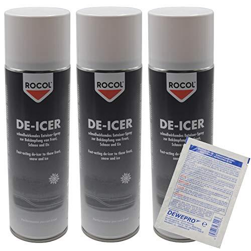 3x ROCOL® DE-ICER 500ml - schnellwirkendes Enteiser-Spray zur Bekämpfung von Frost, Schnee und Eis - inkl. 1 St. DEWEPRO SingleScrubs