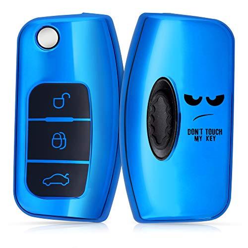 kwmobile Funda Compatible con Ford - Carcasa para Llave del Coche Ford Llave de Coche Plegable de 3 Botones - diseño Don't Touch my Key