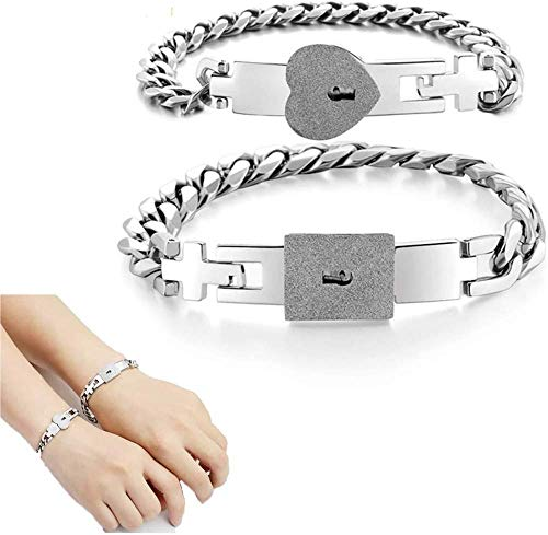 HGYZCQ Couple bracelet, silver tone, stainless steel lover key bracelet, suitable for couples, titanium steel love lover beloved bracelet with lock, romantic gift for Valentine's Day, birthday, weddin