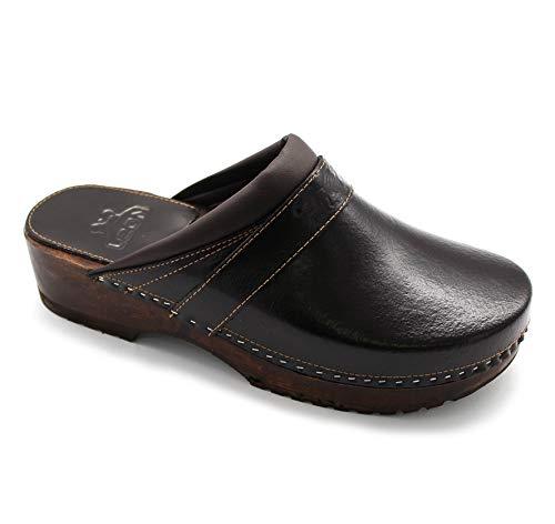 LEON B4M Zuecos Zapatos Zapatillas de Cuero para Hombre, Marrón, EU 43