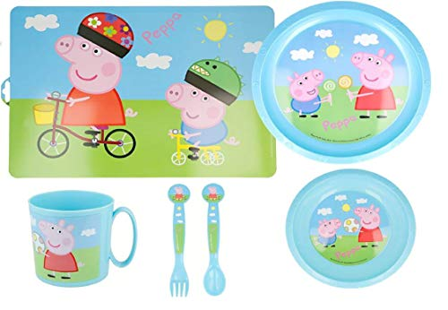 Set de Vajilla Infantil para niño y niña. 6 Piezas: Plato, cuenco, Taza, Cubiertos, y Mantel