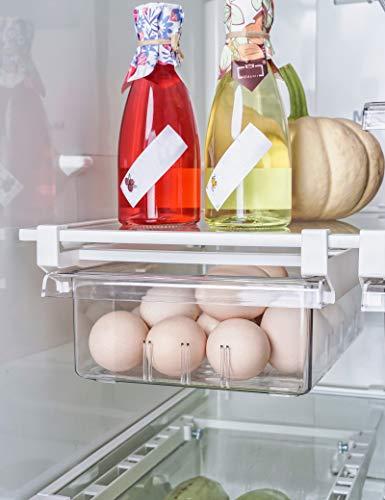 AIKZIK kühlschrank Schubladen, Einstellbare Lagerregal Kühlschrankschubladen Partition Layer Organizer, Ausziehbare Kühlschrank Schublade Organizer Kühlschrank Aufbewahrungsbox (2 Stück)