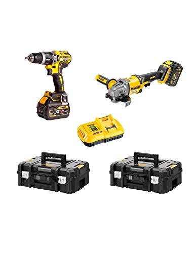 DEWALT Kit FVK256X2-QW FLEXVOLT 54V/18V(DCD796 + DCG414 + 2 batterie 54V/18V Li-Ion 9,0 Ah + DCB118 + 2 x TSTAK II)'Brushless'