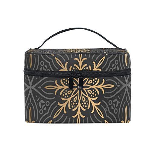 Bolsa de maquillaje portátil de lujo con patrón de mandala dorada, práctica bolsa de aseo para mujeres y niñas