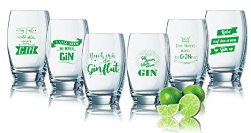 Juego de 6 vasos de ginebra con frases en alemán – divertidos vasos de ginebra impresos 35 cl – Regalo de cumpleaños