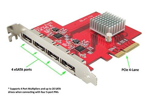Ableconn PEX-SA134 4-Port eSATA III 6Gbps PCI Express Four Lanes Host Adapter Card - AHCI Port-Multiplier PCIe 2.0 x4 Controller Card