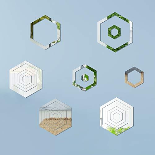 Adhesivo de Pared para Espejo Extraíble JOOPOM 24 piezas Adhesivo Hexagonal para...
